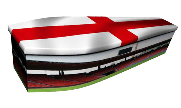 ash brook funerals football with england flag picture coffin