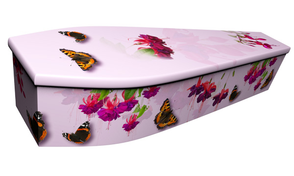 ash brook funerals Pink Fuchsias with Butterflies picture coffin